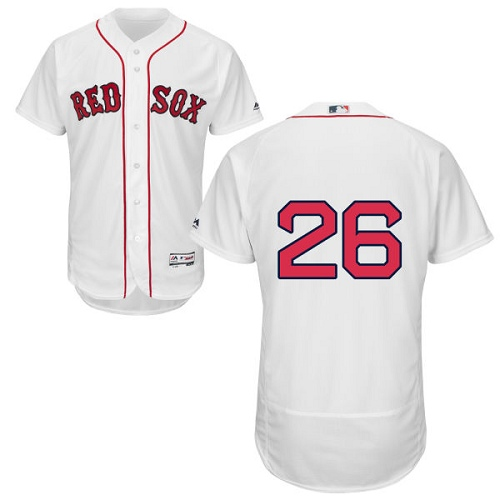 Men's Majestic Boston Red Sox #26 Wade Boggs White Home Flex Base Authentic Collection MLB Jersey