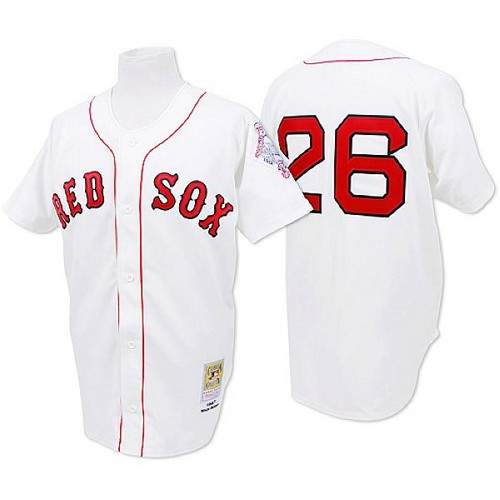 Men's Mitchell and Ness 1987 Boston Red Sox #26 Wade Boggs Authentic White Throwback MLB Jersey
