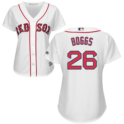 Women's Majestic Boston Red Sox #26 Wade Boggs Authentic White Home MLB Jersey