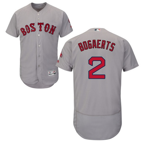 Men's Majestic Boston Red Sox #2 Xander Bogaerts Grey Road Flex Base Authentic Collection MLB Jersey
