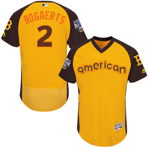 Men's Majestic Boston Red Sox #2 Xander Bogaerts Yellow 2016 All-Star American League BP Authentic Collection Flex Base MLB Jersey