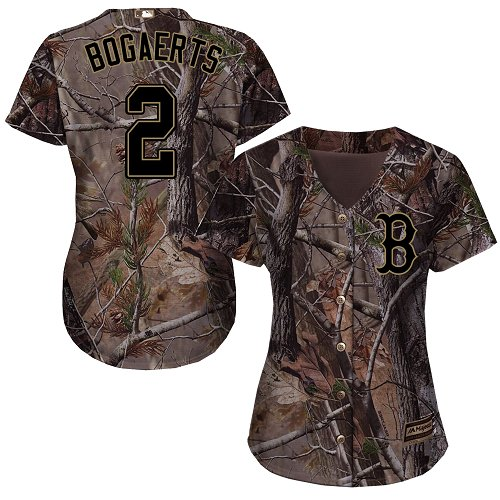Women's Majestic Boston Red Sox #2 Xander Bogaerts Authentic Camo Realtree Collection Flex Base MLB Jersey