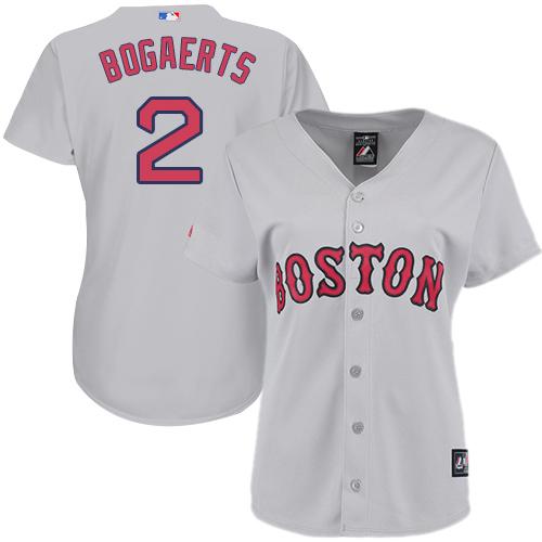 Women's Majestic Boston Red Sox #2 Xander Bogaerts Authentic Grey Road MLB Jersey