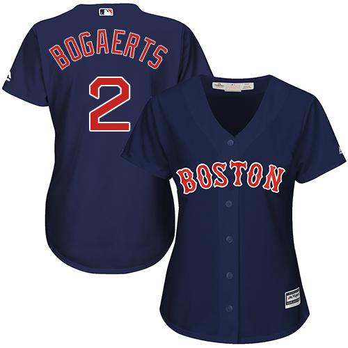 Women's Majestic Boston Red Sox #2 Xander Bogaerts Authentic Navy Blue Alternate Road MLB Jersey