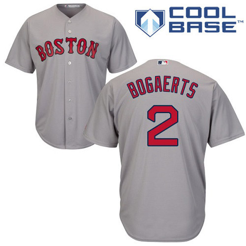 Youth Majestic Boston Red Sox #2 Xander Bogaerts Replica Grey Road Cool Base MLB Jersey