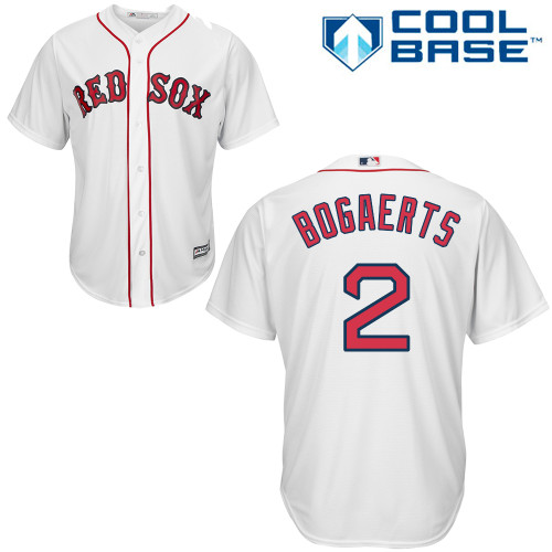 Youth Majestic Boston Red Sox #2 Xander Bogaerts Replica White Home Cool Base MLB Jersey