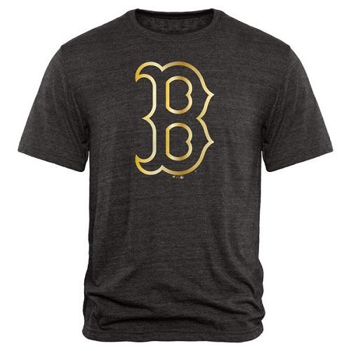 MLB Boston Red Sox Fanatics Apparel Gold Collection Tri-Blend T-Shirt - Black