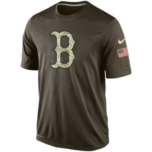 MLB Boston Red Sox Nike Dri-Fit Olive Salute To Service KO Performance T-Shirt