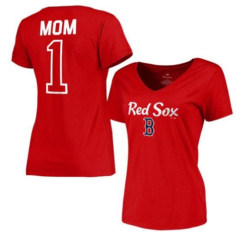 MLB Boston Red Sox Women's 2017 Mother's Day #1 Mom V-Neck T-Shirt - Red