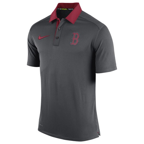 MLB Men's Boston Red Sox Nike Anthracite Authentic Collection Dri-FIT Elite Polo
